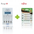 Samya Rapid 4 Charger TS-2800EUF with Fujitsu Rechargeable AA 2000mah 4pcs 1Pack Battery